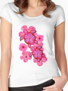 Pink Hibiscus And Honu Turtles Women's Fitted Scoop T-Shirt