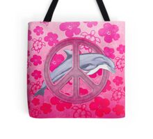 Dolphin Peace Pink Hibiscus Tote Bag
