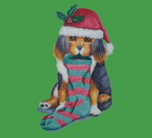 cute black and brown puppy with christmas stocking One Piece - Short Sleeve