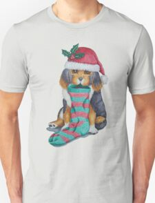cute black and brown puppy with christmas stocking Unisex T-Shirt