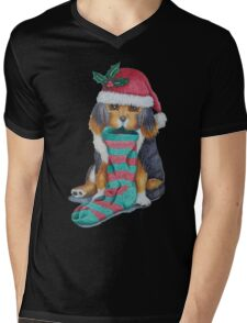 cute black and brown puppy with christmas stocking Mens V-Neck T-Shirt