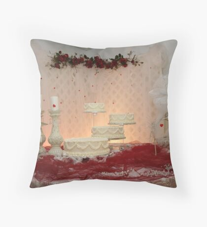 Wedding Cake and Flowers Throw Pillow
