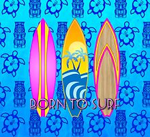 Pink Born To Surf Blue Tiki Mask by BailoutIsland