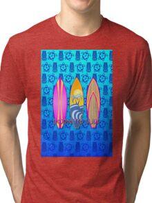 Pink Born To Surf Blue Tiki Mask Tri-blend T-Shirt