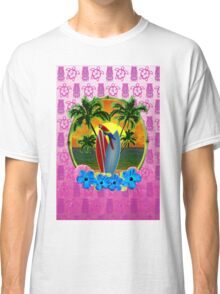 Tropical Sunset Pink Tiki Mask Classic T-Shirt