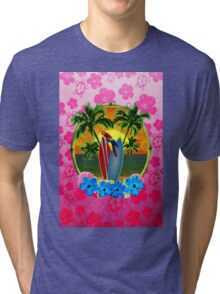 Tropical Sunset Pink Flower Tri-blend T-Shirt