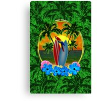 Tropical Sunset Palm Trees Canvas Print