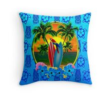 Blue Tiki Tropical Sunset Throw Pillow