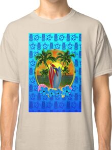 Blue Tiki Tropical Sunset Classic T-Shirt