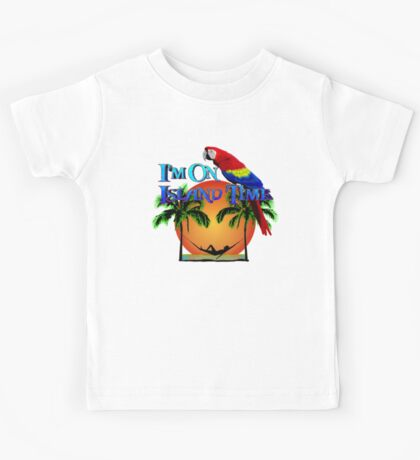 Island Time And Parrot Kids Tee