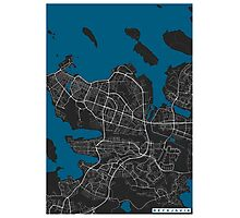 Reykjavik city map black colour Photographic Print