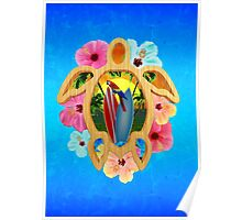 Hawaiian Surfboard Sunset Poster