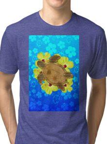 Honu Hawaiian Nautical Map Tri-blend T-Shirt
