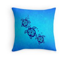 3 Blue Honu Turtles Throw Pillow