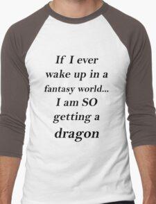 Fantasy Dragon Black Men's Baseball ¾ T-Shirt