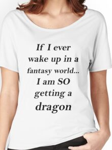 Fantasy Dragon Black Women's Relaxed Fit T-Shirt