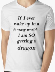 Fantasy Dragon Black Mens V-Neck T-Shirt