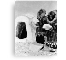 BW USA Alaska igloo builders 1970s Canvas Print