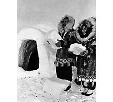 BW USA Alaska igloo builders 1970s Photographic Print