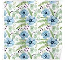 Blue watercolor anemones pattern Poster