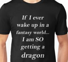 Fantasy Dragon White Unisex T-Shirt