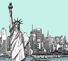America New York Statue Of Liberty Skyline  by Artification