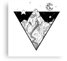 Midnight Geometric Mountains Canvas Print