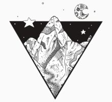 Midnight Geometric Mountains Kids Tee