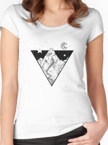 Midnight Geometric Mountains Women's Fitted Scoop T-Shirt