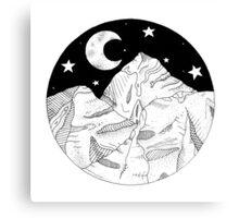 Midnight Mountains Original Ink Illustration  Canvas Print