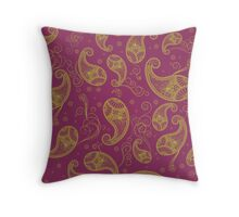 Green and Purple Paisley Throw Pillow