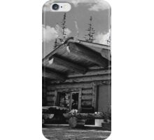 BW USA Alaska Modern alaskan log cabin 1970s iPhone Case/Skin