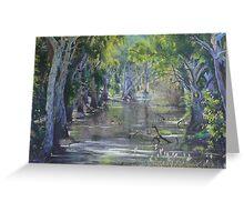 """Sunlit Billabong - Brick Kiln Creek, Deniliquin"" Greeting Card"