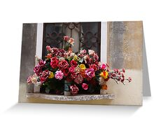 Colorful Bouquet Of Plastic Flowers Greeting Card