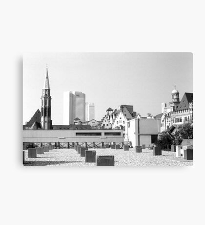 BW Germany Frankfurt Old Saint Nicholas Church 1970s Canvas Print
