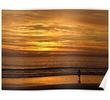 Sunset Fishing, Aldinga Beach, South Australia Poster