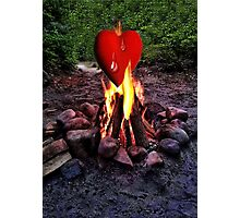 FIRE BURNING ..TEARS OF A CRYING HEART ON FIRE..PICTURE - PILLOW- TOTE BAG-TEE -SCARF ECT. Photographic Print