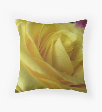 Lemon Meringue Rose Throw Pillow