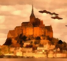 UFO INvasion over St Michel by Raphael Terra by esotericaart