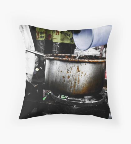 The Indian Tea Vendor Throw Pillow