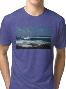 Boiling the Ocean at Laie Point, Oahu's North Shore in Hawaii Tri-blend T-Shirt