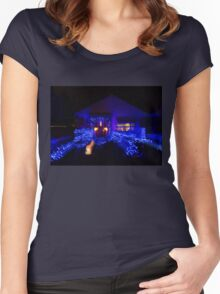 Abstract Christmas Lights - Blue Holidays House Women's Fitted Scoop T-Shirt