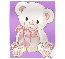Cute teddy bear with bow Poster