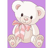 Cute teddy bear with bow Photographic Print