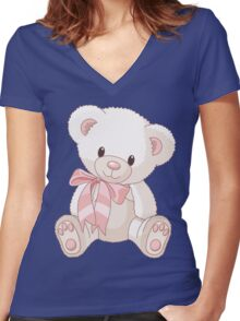 Cute teddy bear with bow Women's Fitted V-Neck T-Shirt