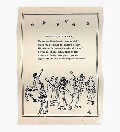 Miniature Under the Window Pictures & Rhymes for Children Kate Greenaway 1880 0018 The Shuttlecocks Poster