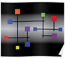 Colored squared on a grey and black background. Poster