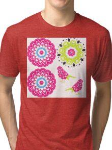 Pretty Paisley Flower And Birds Pattern Tri-blend T-Shirt