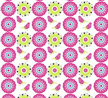 Pretty Paisley Flower And Birds Pattern by Artification