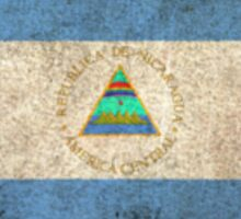 Old and Worn Distressed Vintage Flag of Nicaragua Sticker